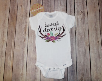 Loved Dearly Deer Antler, Girl clothed, Baby Shower Gifts, Cute Baby Onesie, Rustic Country Baby Bodysuit, Floral Antlers, Gerber Onesie®