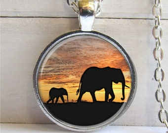 Elephant Pendant, African Elephant Necklace, Photo Pendant
