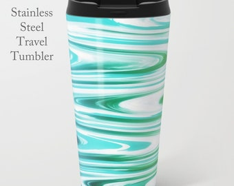 Coastal Travel Tumbler-Abstract Print-Stainless Steel Mug-Insulated Coffee Mug-Metal Mug-15 oz Tumbler-Funky Coffee Mug-Insulated Travel Mug