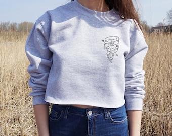 True Love Cropped Sweater Bohemian Summer Fashion Jumper Crop Top Pizza Tattoo