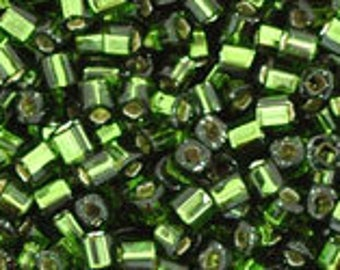 TOHO Japanese Seed Beads - Cube 1.5mm : 37 Silver-Lined Olivine - 5 grams