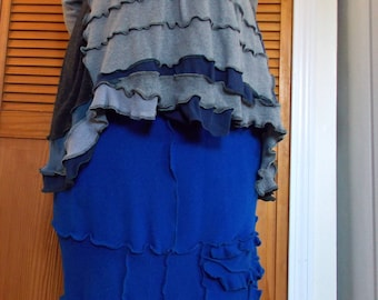 Cashmere Sweater SUPER Ruffle Skirt  M/L/XL Medium Large Floral Flower Rose Recycled Womens Clothing Royal Blue