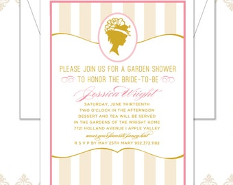Vintage Hat Silhouette Wedding Shower Invitation