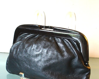 Vintage Made in Italy Black Leather Clutch Bag