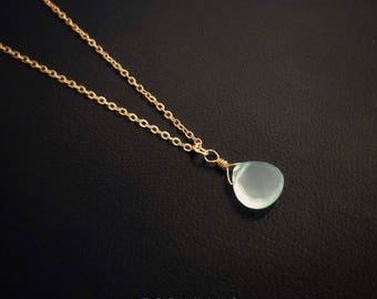 16K Gold Plated Blue Chalcedony Teardrop Gemstone Necklace [5A]