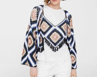 crochet top & cardigan with motifs squares, gift ideas,spring  - summer clothing,cozy dress,