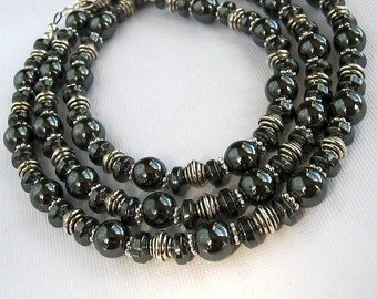 Long Hematite Necklace Long Gray Necklace Silver and Hematite Necklace (29 inches)