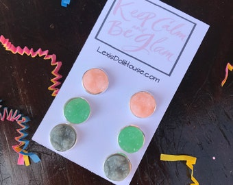 12mm Mint Green Coral Peach Gray Faux Druzy Chunky Stud Earring set cabochon drusy Spring Stone