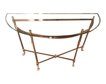 Vintage Brass U0026 Glass Console Table