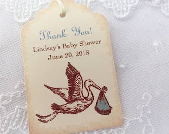 Personalized Baby Shower Tags Thank You Favor Tags Boy Stork Set of 10