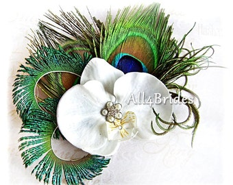 Peacock Feather White Orchid Bridal Fascinator - Something Blue - Peacock Wedding Bridal Bridesmaid Hair Accessories