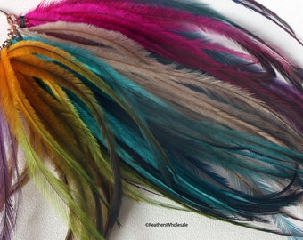 Cruelty Free Hair Craft Feathers Dyed Emu Plumes Salon Grade Feather Extensions | Most Popular Item | Hair Feathers Wholesale 50 PCS