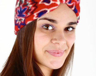 Fleece Headband, Ear Warmer, Turban Style Fleece Headband, Red, Flower Fleece Headband, Winter Hat, Hats and Caps, Women's Fleece Ear Warmer