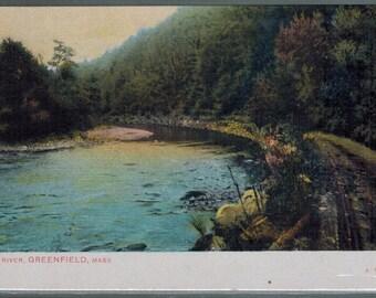 Antique Greenfield Massachusetts Green River Undivided Back Unused Postcard