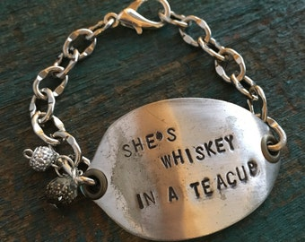 She's Whiskey in a Tea Cup recycled vintage spoon bracelet