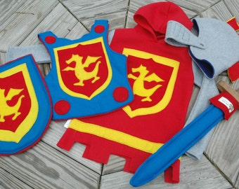 Dragon Knight Costume Gift Set with Fleece Tunic - Super Hero Costume - Halloween Costume - Kid Costume