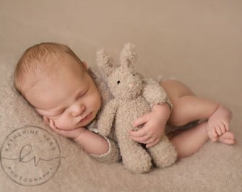 Newborn Photo Prop Knit Bunny, hand knitted bunny rabbit stuffed toy