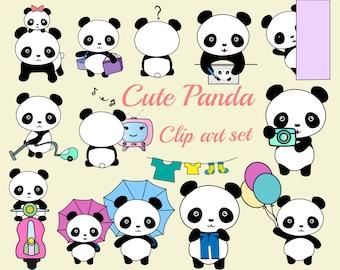 "Cute Panda clipart: ""KAWAII PANDA CLIPART"" Baby Panda Clipart,Panda bears clip art,Panda illustration,Planner Icons,Kids invitation clipart"