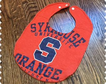Syracuse University Orange Baby Bib, Recycled T-Shirt Baby Bib, Syracuse New York, Syracuse University, Sports Baby