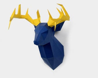 Deer Head Trophy    - DIY Pre-cut Papercraft Kit