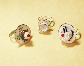 SALE Tea Party Rings - Choose your Treat - Wonderland - Mad Hatter - gifts under 10 - gifts under 15 - Stardust Trinkets