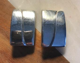 Vintage Designer Zina of Beverly Hills Sterling Silver Modernist Clip on Earrings Signed .925