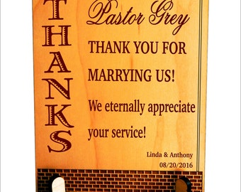 Wedding Officiant Gift - Gifts for Priest Wedding - Wedding Thank You for marrying us - Pastor Plaque, PLP007