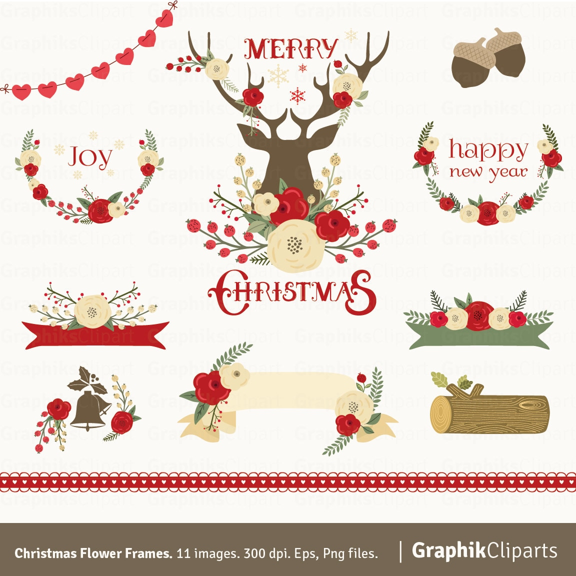 Christmas Flower Frames Clipart. Floral Christmas Clipart. Christmas ...