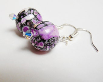 Purple Marbled Ceramic Beads with Swarovski Crystal Earrings