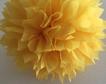 Primary Yellow tissue paper pompom twin first birthday party neutral nursery decoration bridal shower sunshine theme wedding aisle marker