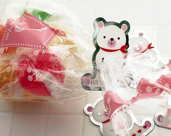 10 Clear Ties - Scarf Bear (1.7 x 1.8in)