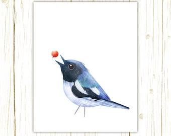 Black-Throated Blue Warbler Print -- bird art -- colorful bird art by stephanie fizer coleman illustration