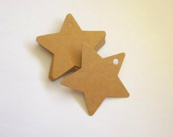 20 star shaped kraft tags, Star kraft tag, Kraft gift tag, Kraft paper star, Gift tags, Favor tags, Star tags, Kraft stars wedding tags