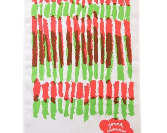Hand Screen Printed Botnica Tea Towel in Pink and Green