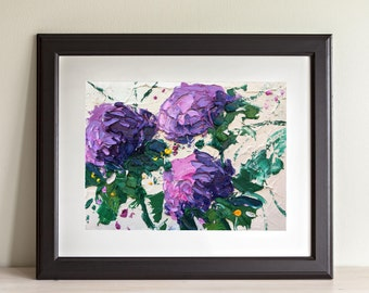 Hydrangea Painting Oil on Canvas Purple Blue Flowers Painting Floral Wall Art for Kitchen Artwork Original Textured Women Gifts for Mom