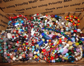 SALE ! Vintage Glass Beads - Small flat rate box full - lot 5 ,  beads , sterling , crafts , jewelry making , jewelry