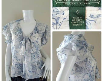 Ralph Lauren Women Cotton Ruffled Blouse Size S