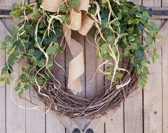 "BEST SELLER 26"" Front door wreath, Greenery Wreath -Wreath Great for All Year Round - Everyday Burlap Wreath, Door Wreath, Front Door Wreath"