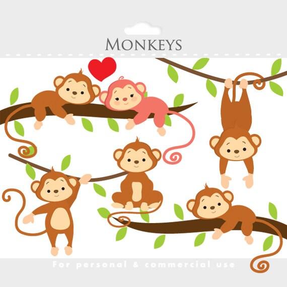 monkey clipart whimsical monkeys clip art cute monkeys jungle rh etsystudio com clipart monkey face clipart monkey hanging from tree branch