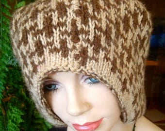 womens hat extra large oversize vintage wool with matching scarf brown beige winter slouchy hat dreads