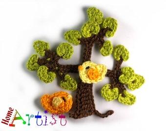 Crochet Applique Tree bird butterfly