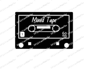 Cassette Mixed Tape Cut File, SVG File, Printable JPG File, Digital Download