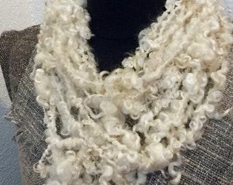 white hand-spun, cuddly soft & warming necklace