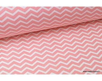 Fabric 100% cotton zig zag pattern .x1m coral chevrons