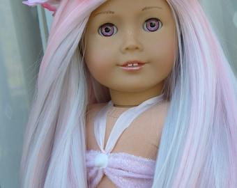 """OOAK Fantasy Mermaid Custom American Girl 18"""" Doll Hand Painted Eyes Pink White Gray Hair"""