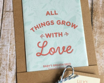 12 - Seed Packet Favors, Baby's Breath Seed Favors, Baby Shower Seed Favors, Personalized Seed Favors