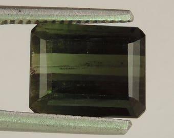 5.7 cts dark green tourmaline faceted baguette cut Brazil