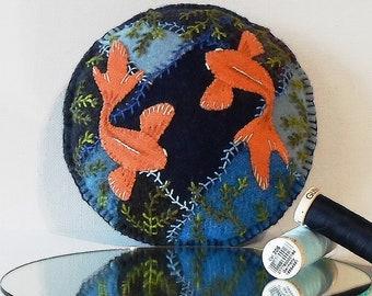 63da7780ebf Handmade Goldfish Pond Felted Wool Embroidered Crazy Patch Pincushion