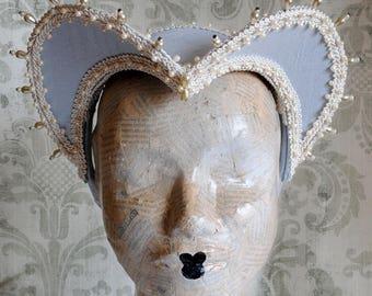 French Hood in Light Blue,Historical Renaissance Headpiece,Tudors Attifet,Elizabethan Wedding Headdress,Mardis Gras Costume-Made to Order