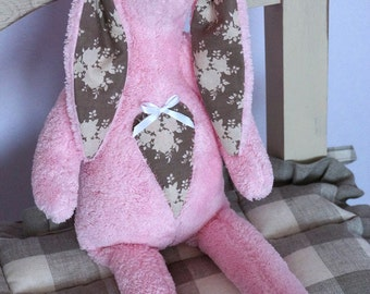 Textile Doll PDF Digital Pattern 'Pinky the Bunny' Easter Valentine's Day Home Decor
